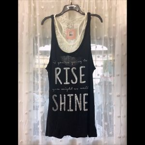 "L Black ""If your gonna rise"" tank top"